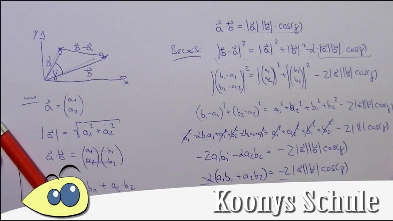 Herleitung Skalarprodukt im Zweidimensionalen, Winkel zwischen zwei ...