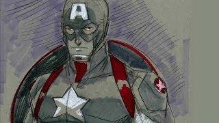 Drawing Captain America - Tom Hodges Wondercon 2014