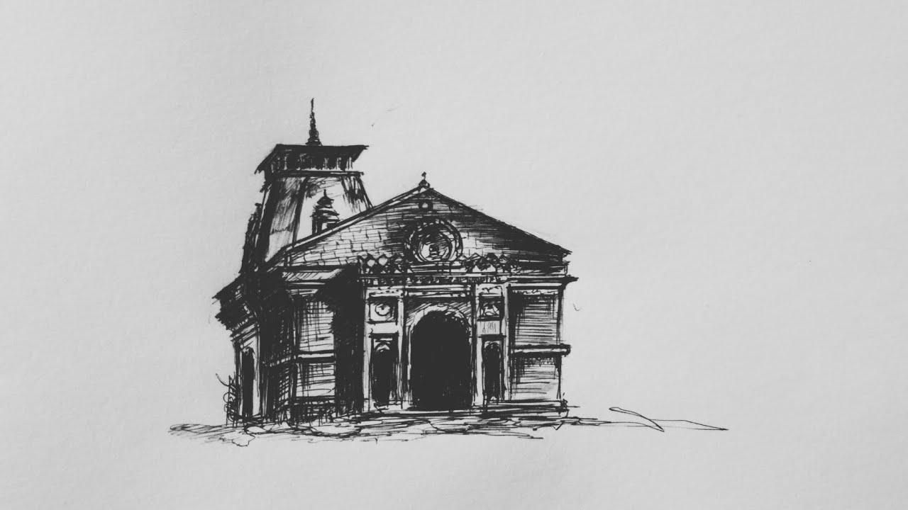 Kedarnath temple sketch by ballpoint pen