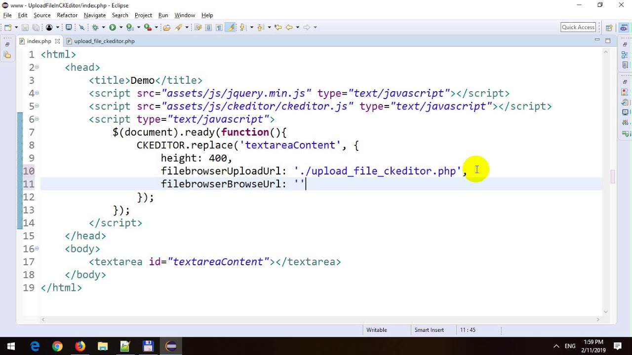 Upload File in CKEditor in PHP