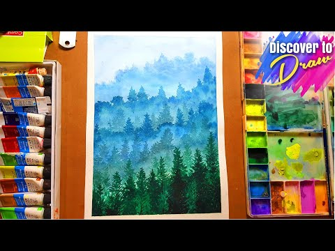 How to Draw foggy forest nature landscape | Step by step for kids