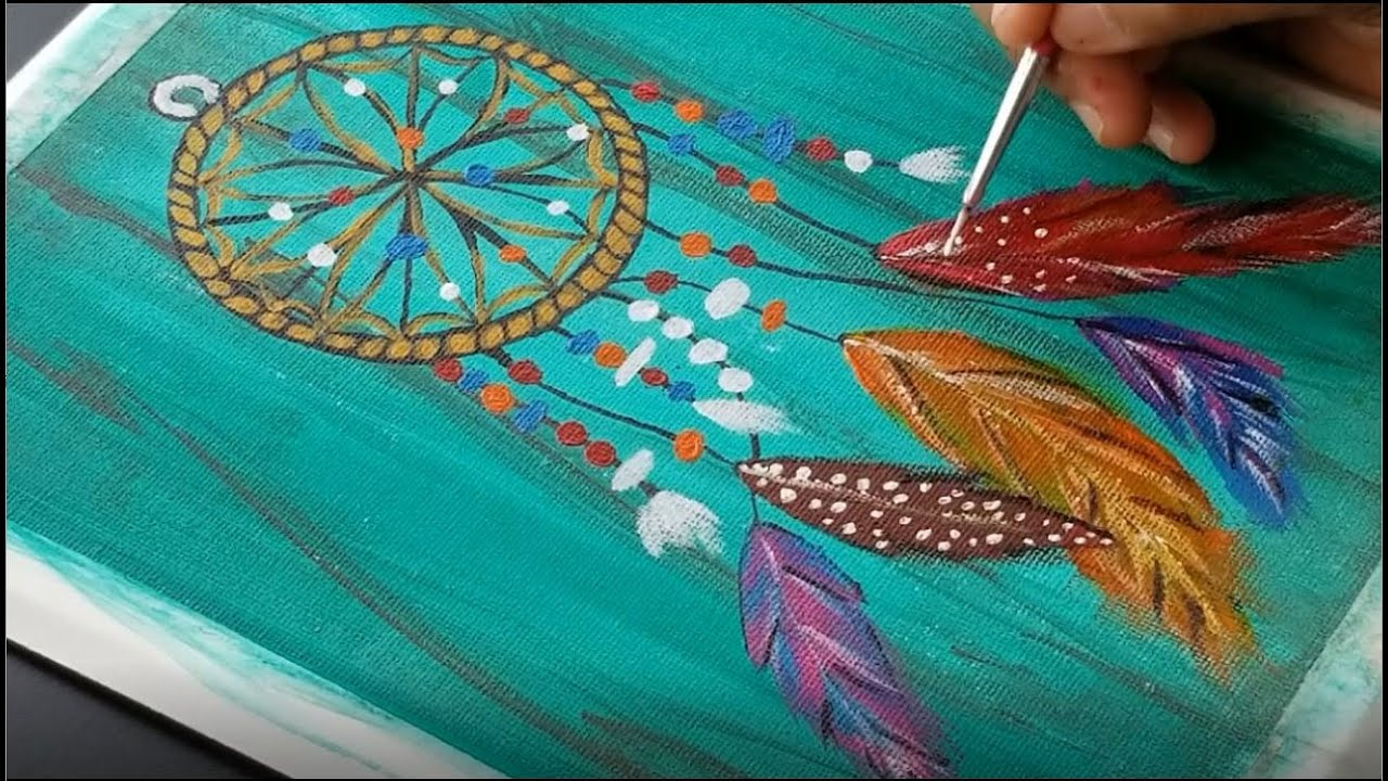 How To Paint Dream Catcher Acrylic Painting For Beginners Art Challenge 1 Youtube