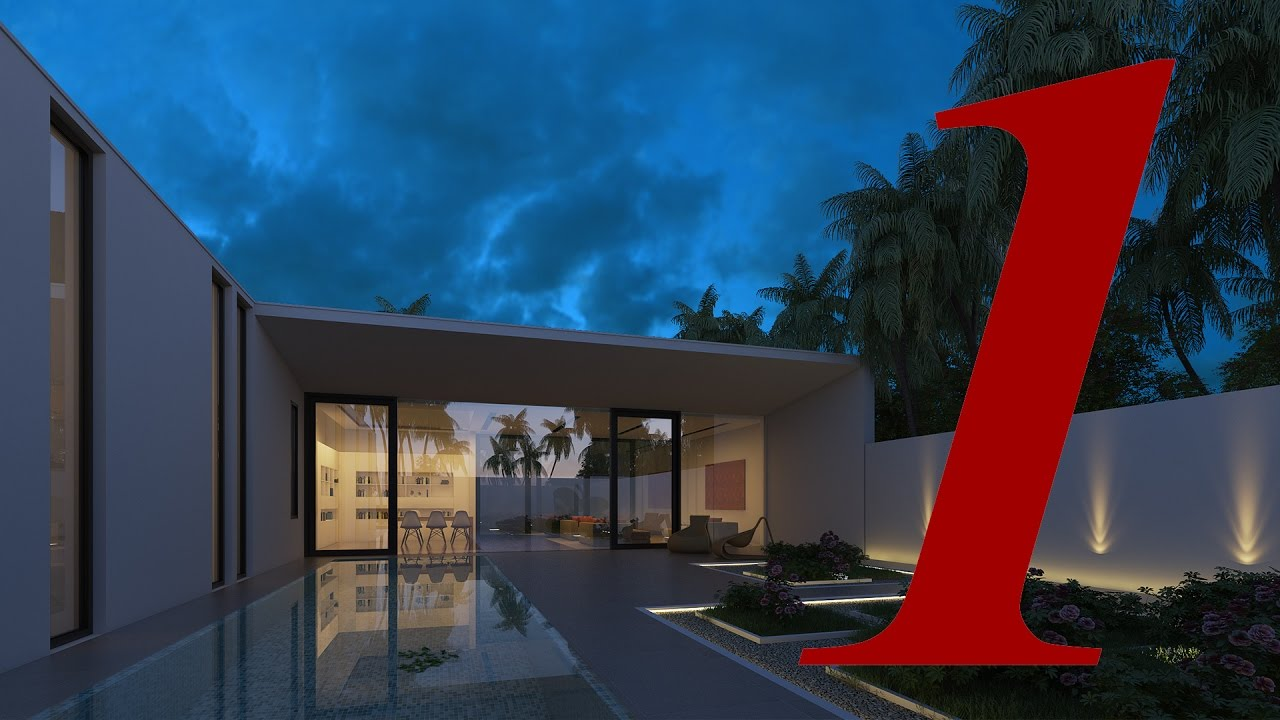 [ Vray for Sketchup ] Making Of Night View Exterior Part 1 Lighting And  Material