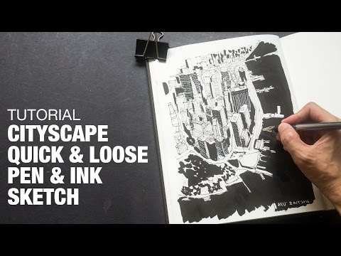 Cityscape Loose Pen & Ink Sketch (Tutorial)