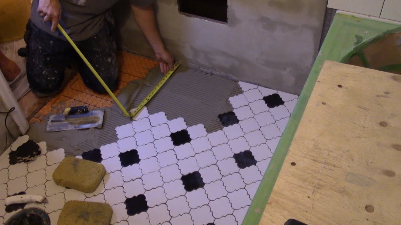 How to tile a bathroom 51 mosaic floor tiles measuring youtube how to tile a bathroom 51 mosaic floor tiles measuring dailygadgetfo Choice Image