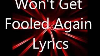 The Who Wont Get Fooled Again Lyrics