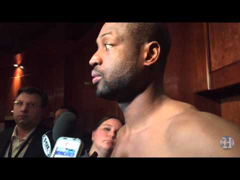 Dwyane Wade reacts to Miami Heat's overtime win over Pacers