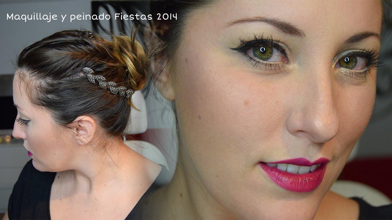 Maquillaje fiestas 2014 y peinado romántico , diadema hojas de zara , YouTube