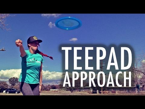 Tina Stanaitis Disc Golf Approaching the Teepad