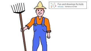 How To Draw A Farmer For Children Nursery Rhymes The Farmer In The Dell