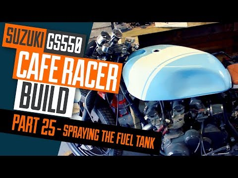 Cafe Racer Build 25, Suzuki GS550 painting the fuel tank blue