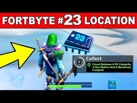 Fortnite Fortbyte #23 Location - Found between an RV campsite, a Gas Station and Monstrous Footprint