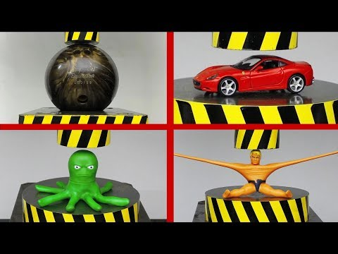 EXPERIMENT HYDRAULIC PRESS 100 TON vs Stretch Armstrong, Bowling Ball, FERRARI (Compilation)