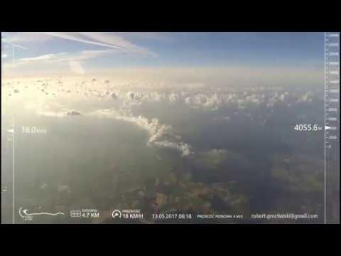 Lot w stratosferze 13.05.2017, 36058 metrów - cały lot