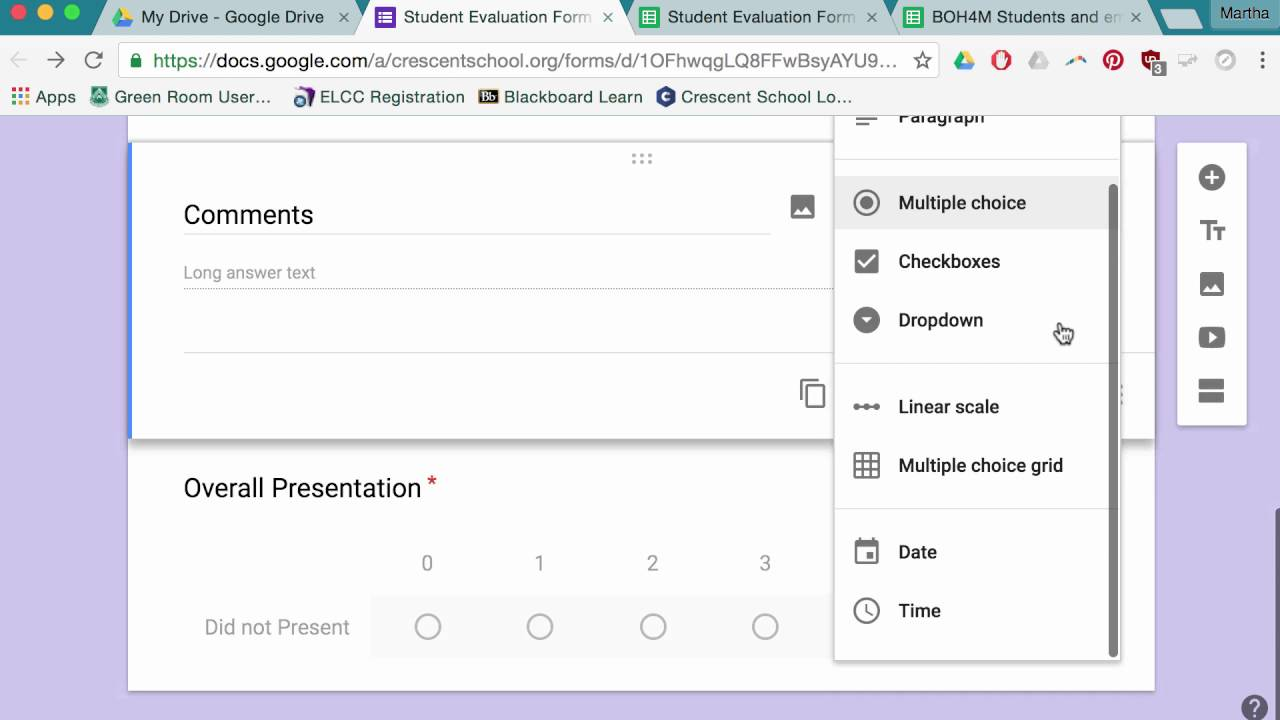 Google Forms For Student Evaluation Part 1, Full