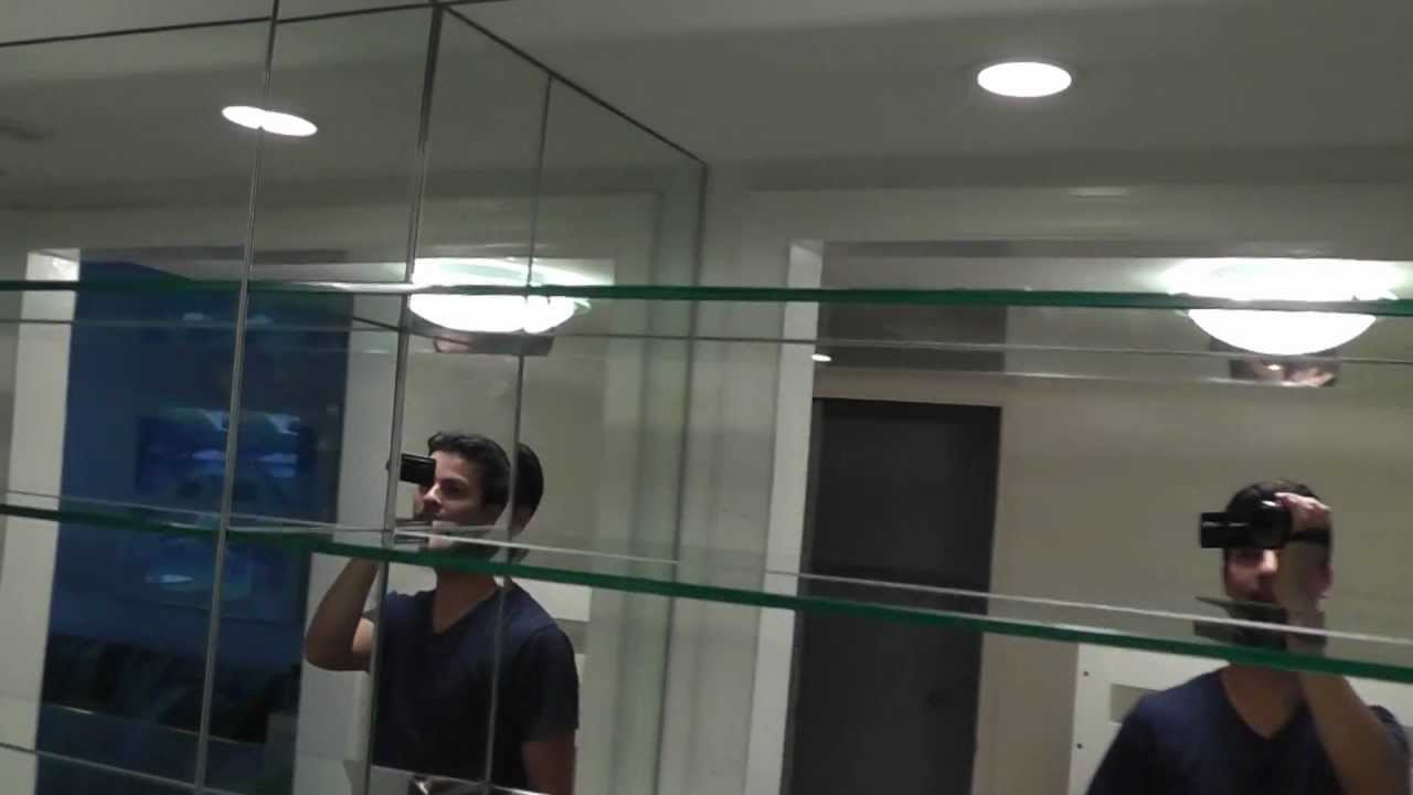mirrored bar, mirror and glass shelves - YouTube