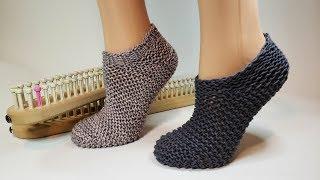 Loom Knit Squishy Slipper Socks Knitting Pattern Tutorial