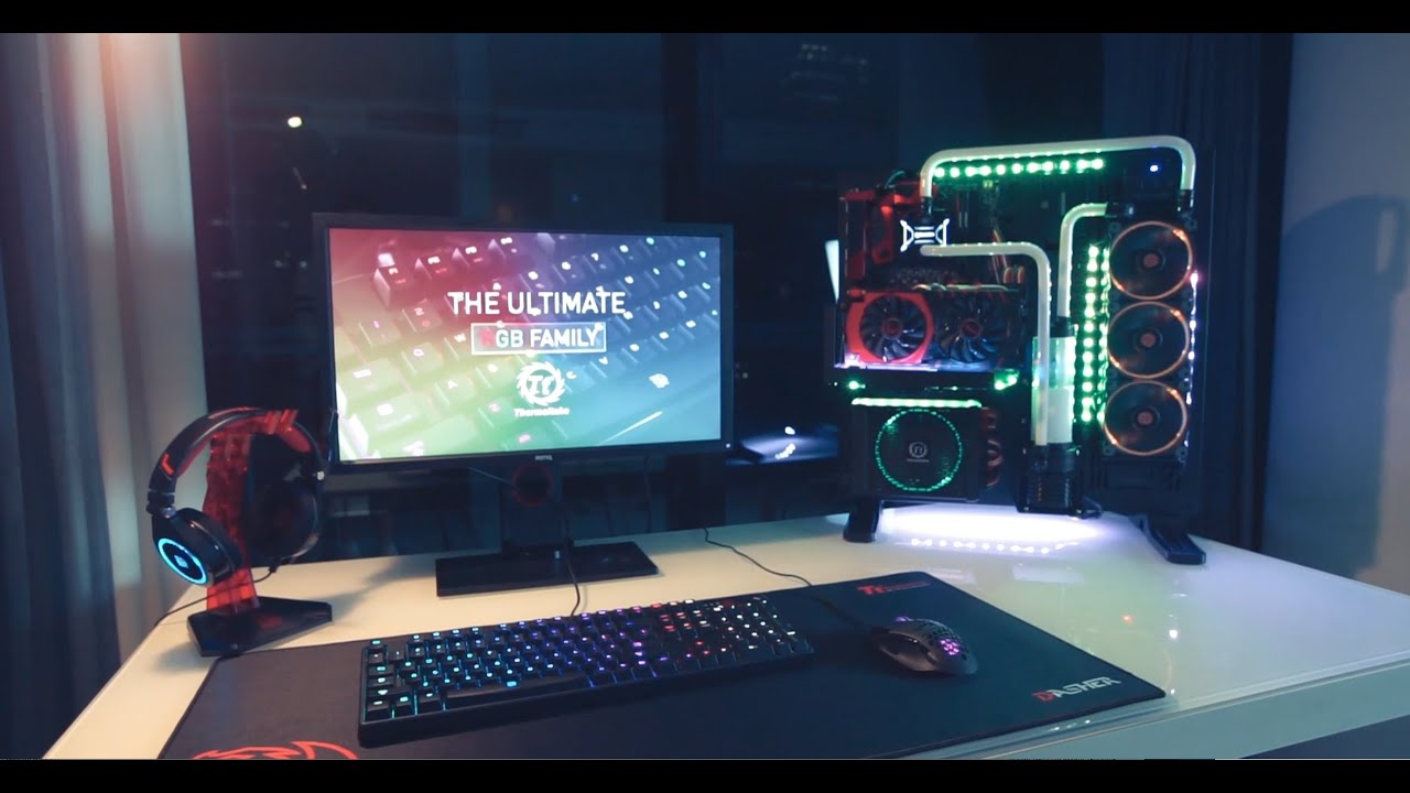 thermaltake custom watercooled core p5 gaming pc setup room tour gaming liquidcooled pc mod. Black Bedroom Furniture Sets. Home Design Ideas