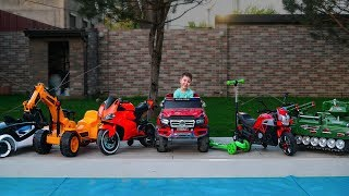 Tema ride on Power Wheels Cars Collection and Learn colors with cars