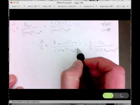 Partial fraction expansion for underdamped second order systems