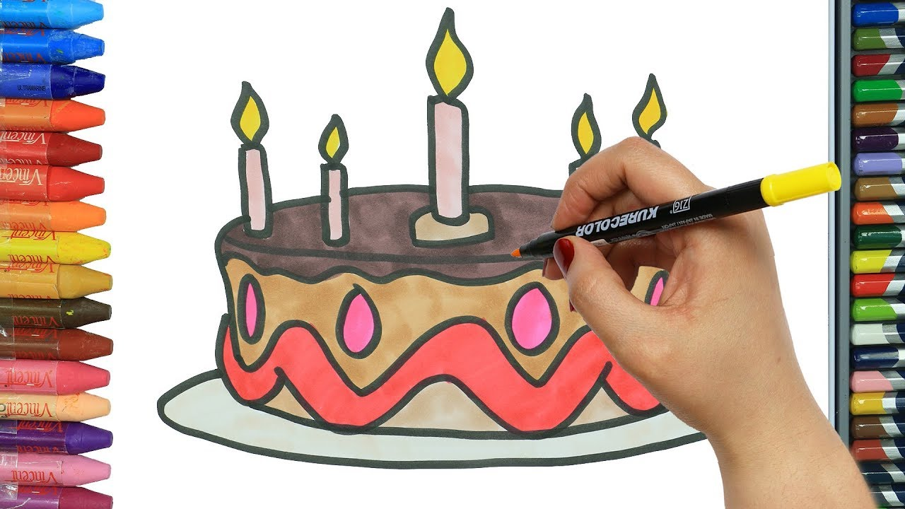 Wie Zeichnet Man Bunter Kuchen Ausmalen Kinder Kindervideos