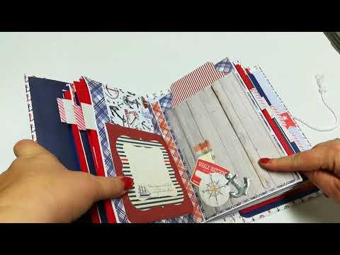 Nautical baby book photo journaling album red white blue