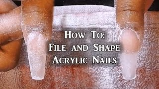 How To - File and Shape Acrylic Nails | Coffin Nails | LongHairPrettyNails