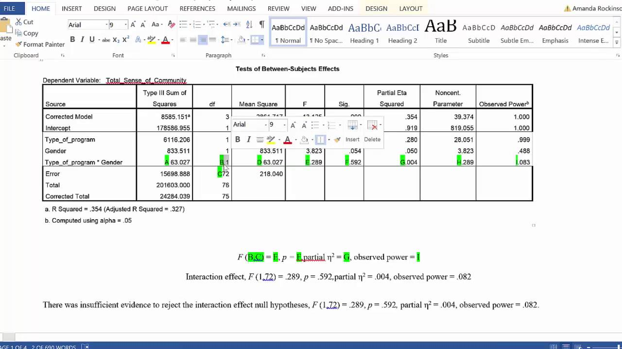 how to create anova table in spss