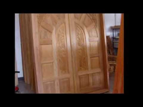 Kerala style wooden front door youtube for Window carton design kerala