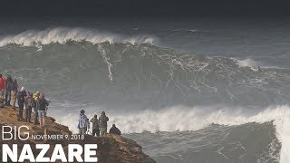 HUGE Rolling Waves in Nazare - November 9 , 2018 - RAW FOOTAGE