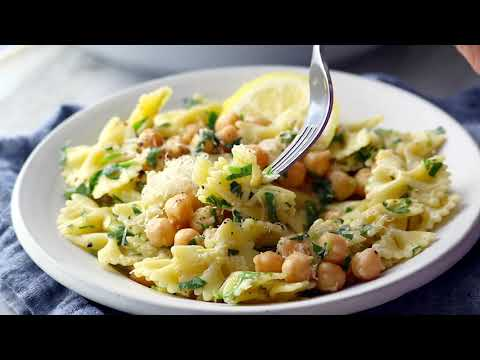 Lemon Herb Pasta Salad with Marinated Chickpeas