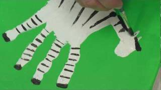Art Lesson: How to Make Hand Print Safari Animals Using Acrylic Paint