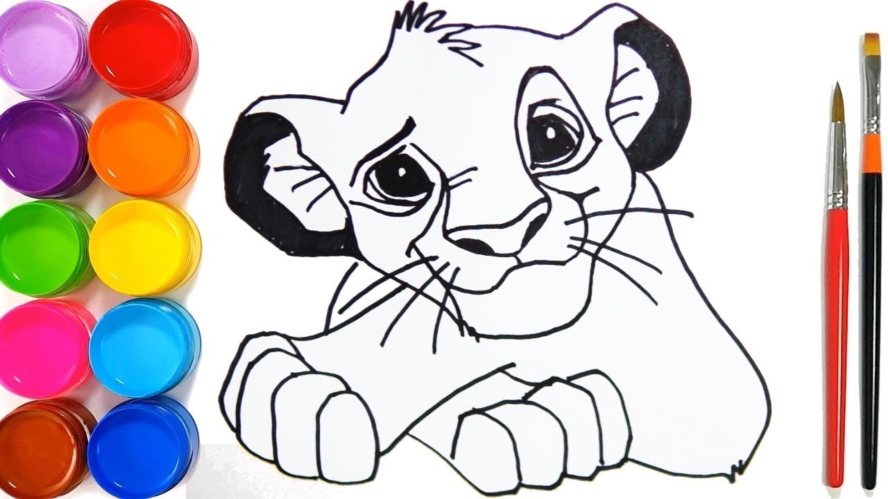 How to Draw Simba Lion King 2019 coloring and drawing for Kids, Toddlers #1