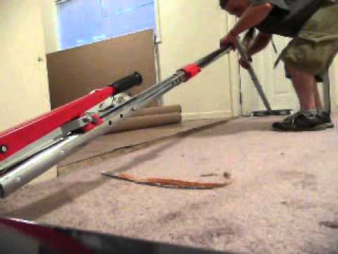 Stretching Hallway Carpet Using Multiple Rods With Roberts Power Lok 10 254