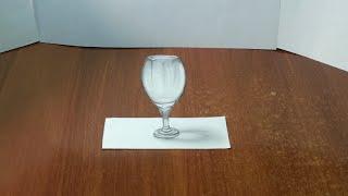 Как нарисовать 3D РИСУНОК на бумаге карандашом. БОКАЛ. How to draw 3D(Как нарисовать 3D РИСУНОК на бумаге карандашом. How to draw 3D. Здравствуйте, в этом видео вы увидите, как нарисоват..., 2016-02-23T23:05:33.000Z)