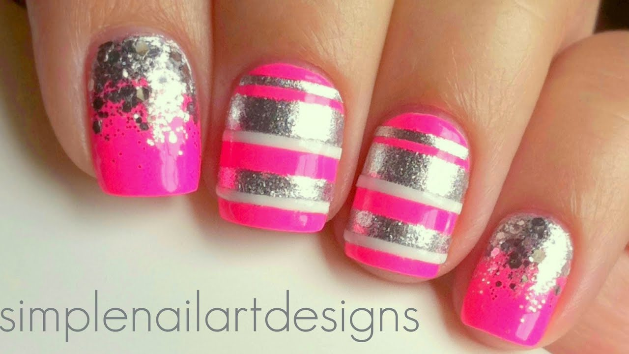 Pink and Silver Stripes and Glitter Gradient Nails - YouTube
