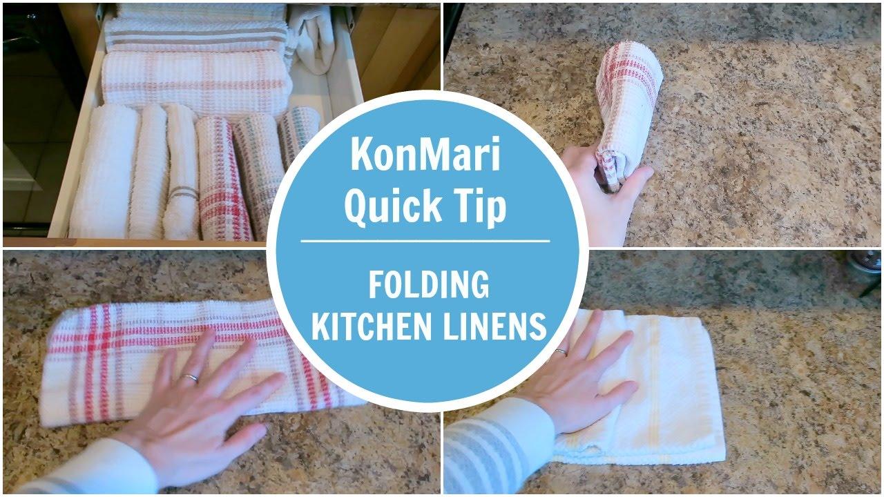 kitchen linens restaurant door konmari method tip folding linen youtube