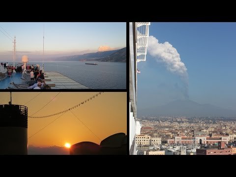 Erupting Etna and Strait of Messina - Costa Favolosa Cruise
