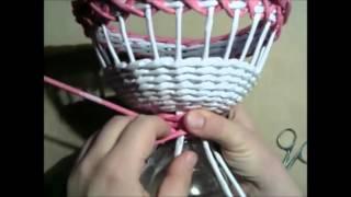 Плетение ажурной вазочки на ножке из газетных трубочек. урок 4.