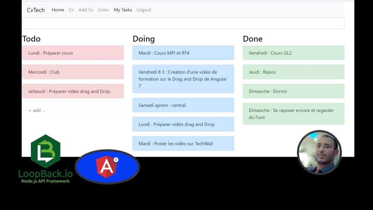 angular 7 et loopback Drag and Drop Task Manager 3ème itération