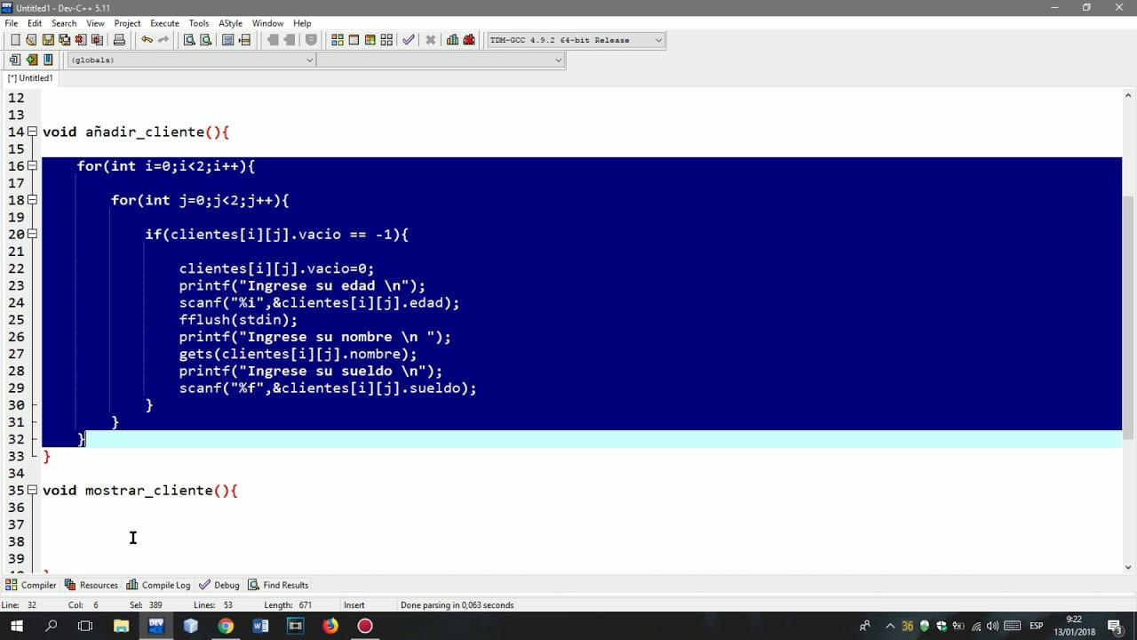 Matrices Arreglos De Registros Struct Programa En C C