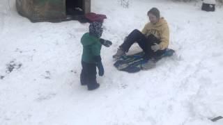 Toddler Sled - Toddler sledding for the first time!
