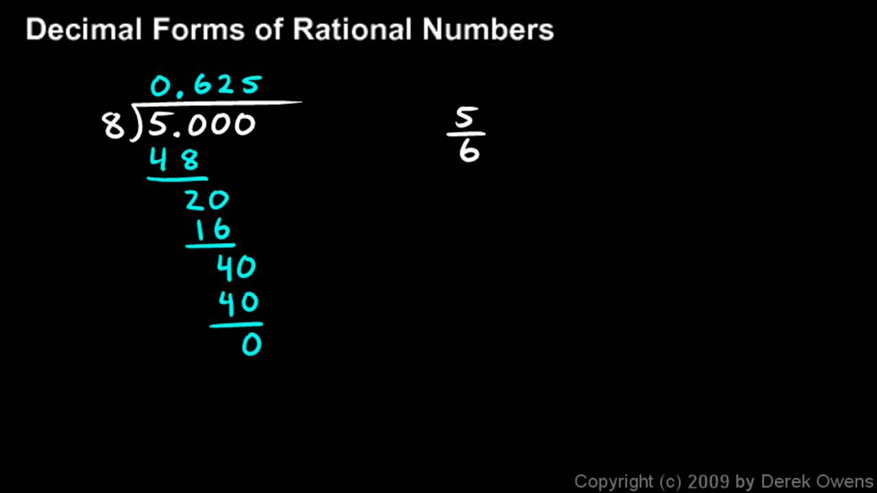 Algebra 1 11.2a - Decimal Forms of Rational Numbers - YouTube