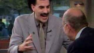Borat wrestles Harry Smith