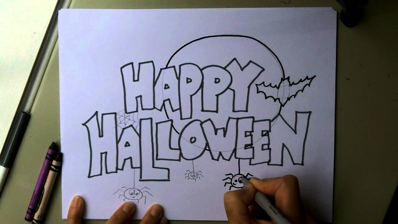 How To Make A Happy Halloween Poster, Sign, Invitation Or Card! Step By  Step. Easy! - Youtube