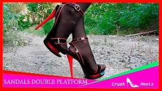 VERY HIGH HEELS SANDALS DOUBLE PLATFORM BLACK WITH RED