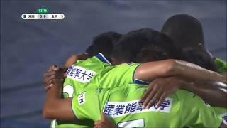 右サイドのCKからゴール前にこぼれたボールを菊地 俊介(湘南)が押し込...