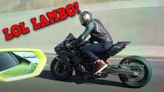 Kawasaki H2R DESTROYS 1000HP LAMBO!!!