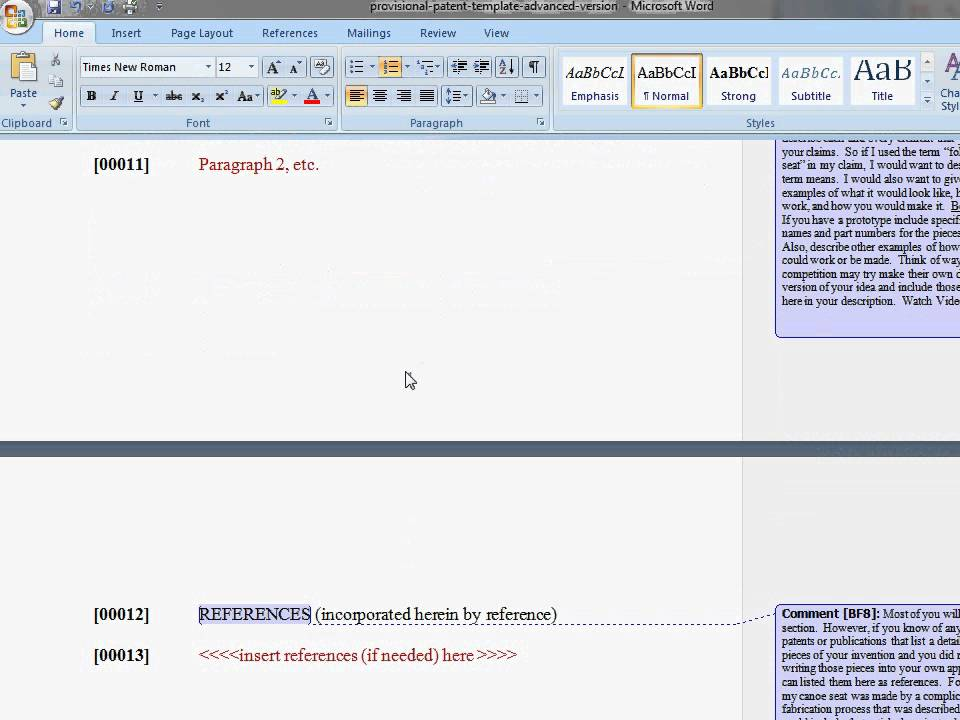 Provisional Patent Template - Introduction - YouTube - provisional patent application example
