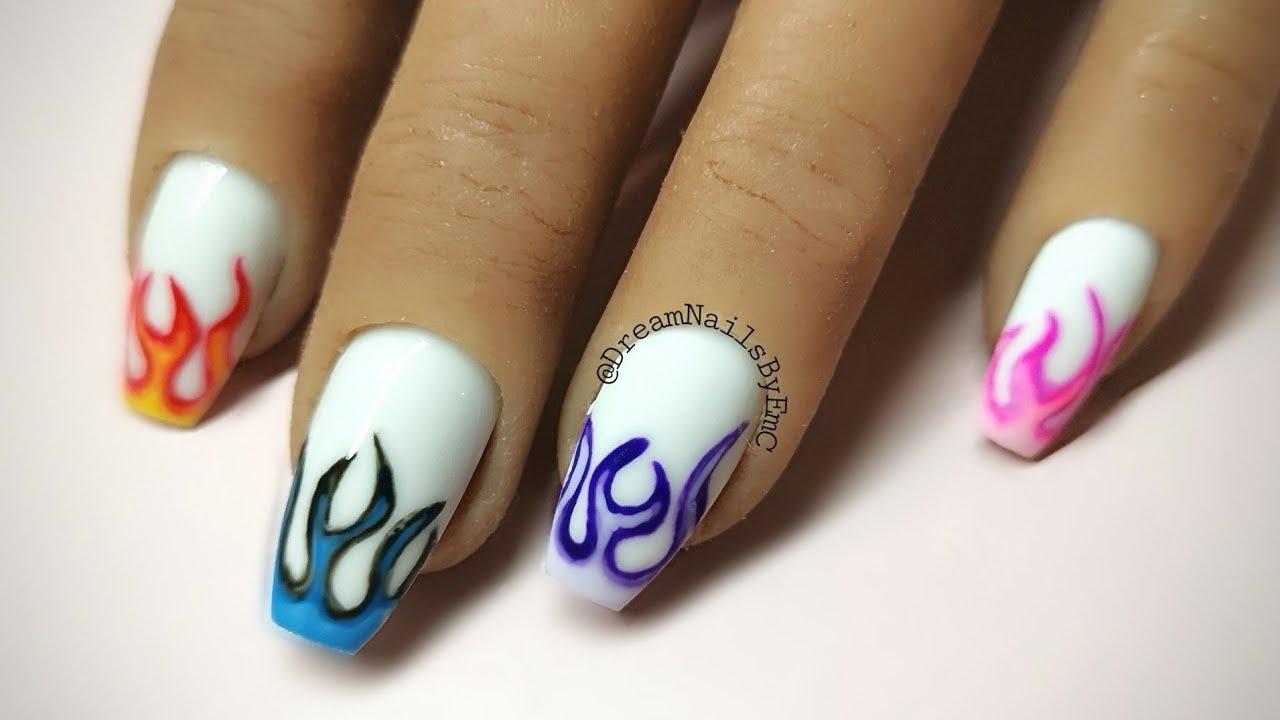 Flame nail art   #flamenails   acrylic nails   gel nails ...